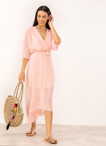 87b8945b8773 The Fashion Project Κρουαζέ ασύμμετρο φόρεμα με διαφάνεια - Ροζ -  07603012001