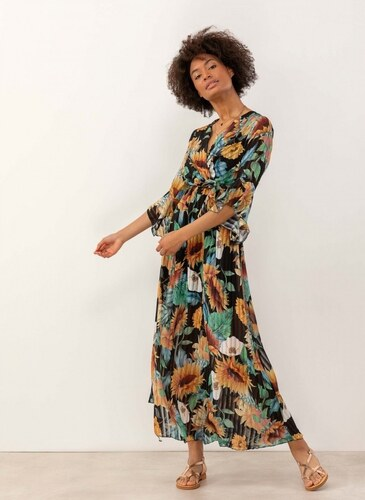 ebdaff4f831f The Fashion Project Maxi πλισέ φόρεμα με λουλούδια - Μαύρο - 07633002001