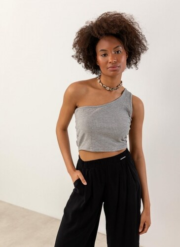 ba35d4b9f35d -38% The Fashion Project Ριπ crop top με έναν ώμο - Γκρι - 07596027001