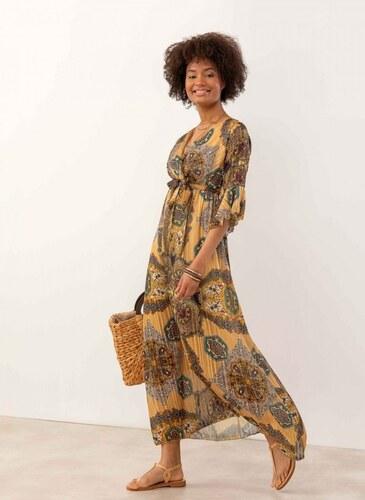 3f5f20aa12c2 The Fashion Project Maxi πλισέ gypsy φόρεμα με λαχούρια - Μουσταρδί -  07634056001
