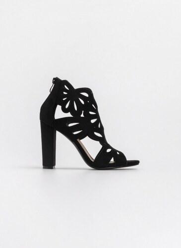 a6148e161b3 The Fashion Project Suede πέδιλα-μποτάκια με laser cut σχέδιο - Μαύρο -  07674002002