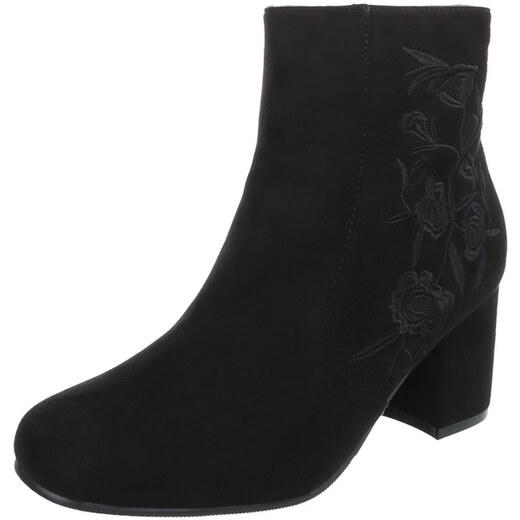 c24aad6e1a7 LD shoes 0663 LD Κομψά σουέτ μποτάκια με κέντημα στο πλάϊ - μαύρα - Glami.gr