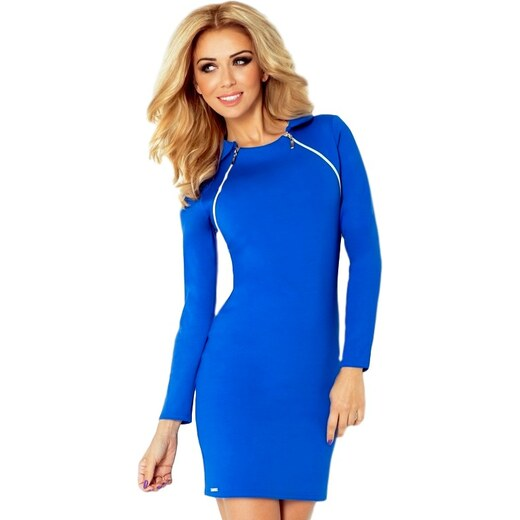 41f4d793e3aa Numoco 70057 NU Μίνι φόρεμα με μακριά μανίκια και 2 φερμουάρ - μπλέ -  Glami.gr