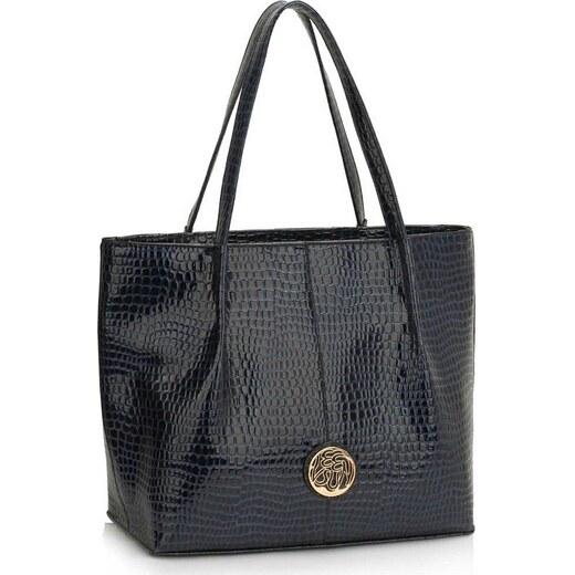 e1c1fc7dd2 LS Bags 1419 LS Γυναικεία μεγάλη τσάντα ώμου φίδι LS00454 - Μπλέ navy -  Glami.gr
