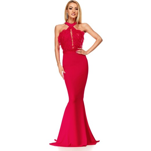 RO FASHION 9191 RO Κομψό μάξι γοργονέ φόρεμα - κόκκινο - Glami.gr d522d03c504