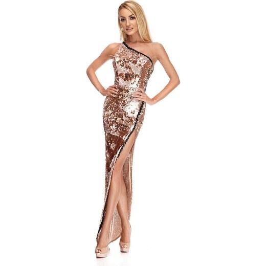 RO FASHION 9206 RO Βραδινό μάξι φόρεμα με παγιέτες - Χρυσό ροζ - Glami.gr dc03d51a97d