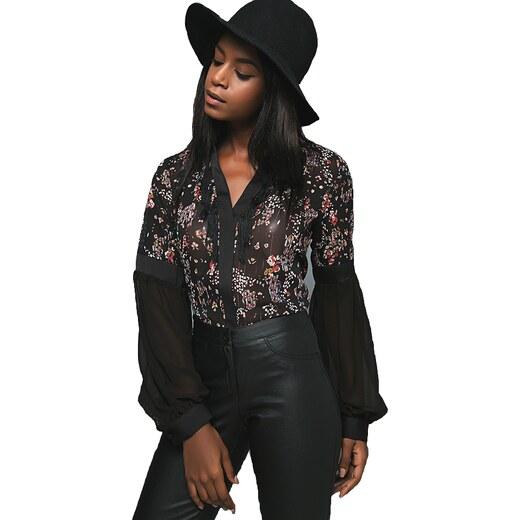 6850ebab3035 Zazu Pontoni Γυναικεία floral πουκαμίσα με διαφάνεια - Glami.gr