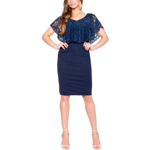 RAVE Ελαστικό μπλε φόρεμα με δαντέλα - Glami.gr 0b796b49ed8