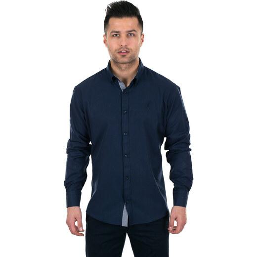 4c1ed127396a Al Franco Σκούρο μπλε ανδρικό πουκάμισο με ασπρόμαυρες λεπτομέρειες -  Glami.gr