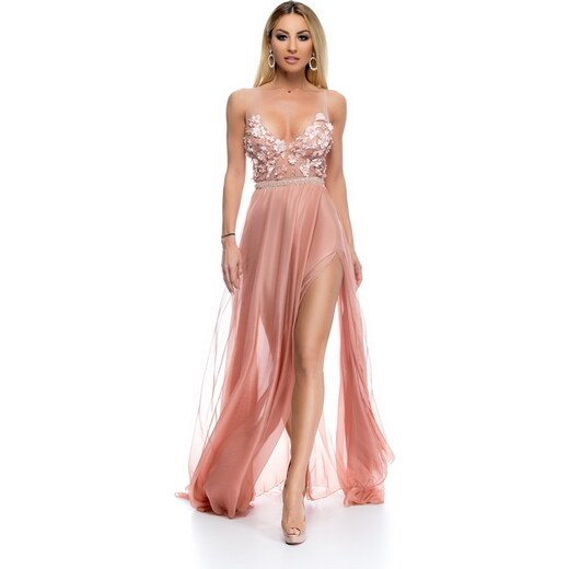 RO FASHION 9267 RO Εντυπωσιακό μάξι φόρεμα με δαντέλα και διαφάνεια -  Ροζ Μπρονζέ - Ροζ - Glami.gr 3d541b354e2