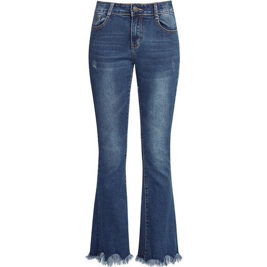 9640c9527c1 Celestino Τζιν παντελόνι με καμπάνα και ξέφτια στο τελείωμα SD664 ...
