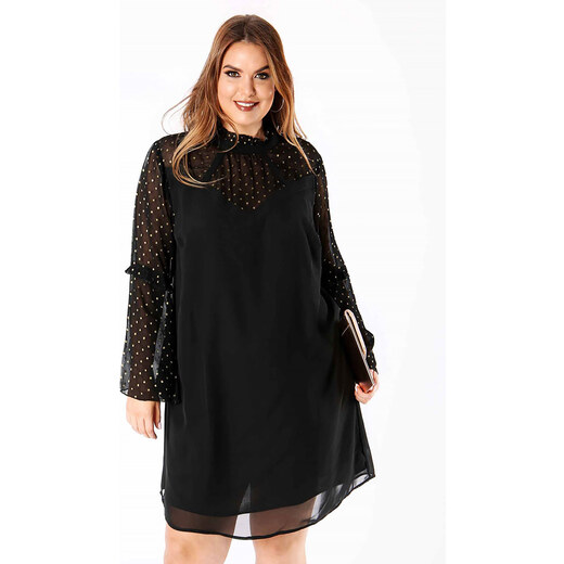 Φόρεμα Μαύρο με Χρυσό Πουά στα Μανίκια - Glami.gr 56529cc9f87