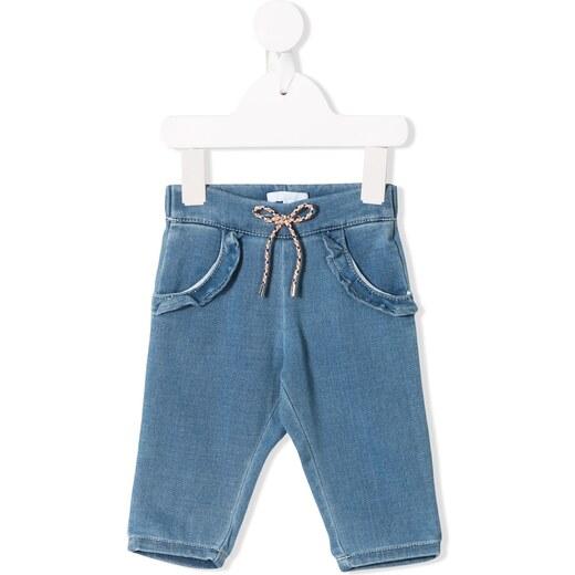 Chloé Kids drawstring ruffle detailed jeans - Blue - Glami.gr d3cdb1ae873
