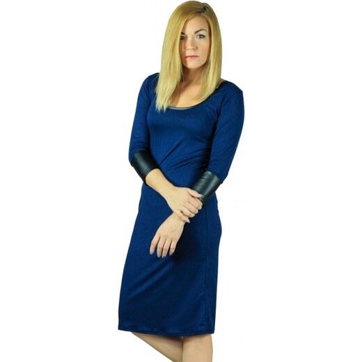 a0f60369d33a Petit Boutik Μπλε Μίντι Φόρεμα με Δερμάτινα Μανίκια - Glami.gr