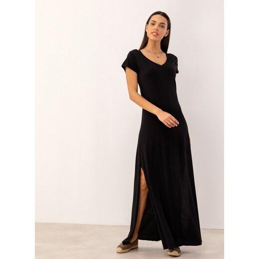 8bbbb627b370 Noobass Maxi μακό φόρεμα με ανοίγματα στο πλάι - Μαύρο - 06828002001 -  Glami.gr