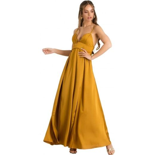 69697f5736ef DeCoro F22283 Φόρεμα Maxi Satin - ΜΟΥΣΤΑΡΔΙ - 10 - Glami.gr
